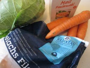Kochen bei Schilddruesenproblemen: Seelachs mit Spitzkohl-Möhren-Gemüse